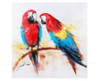 Parrots on Branch 70x70cm Oil on Canvas Wall Art 1