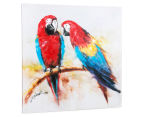 Parrots on Branch 70x70cm Oil on Canvas Wall Art 3