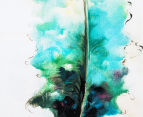 Feather Shades Of Green 40x90cm Oil On Canvas Wall Art 4