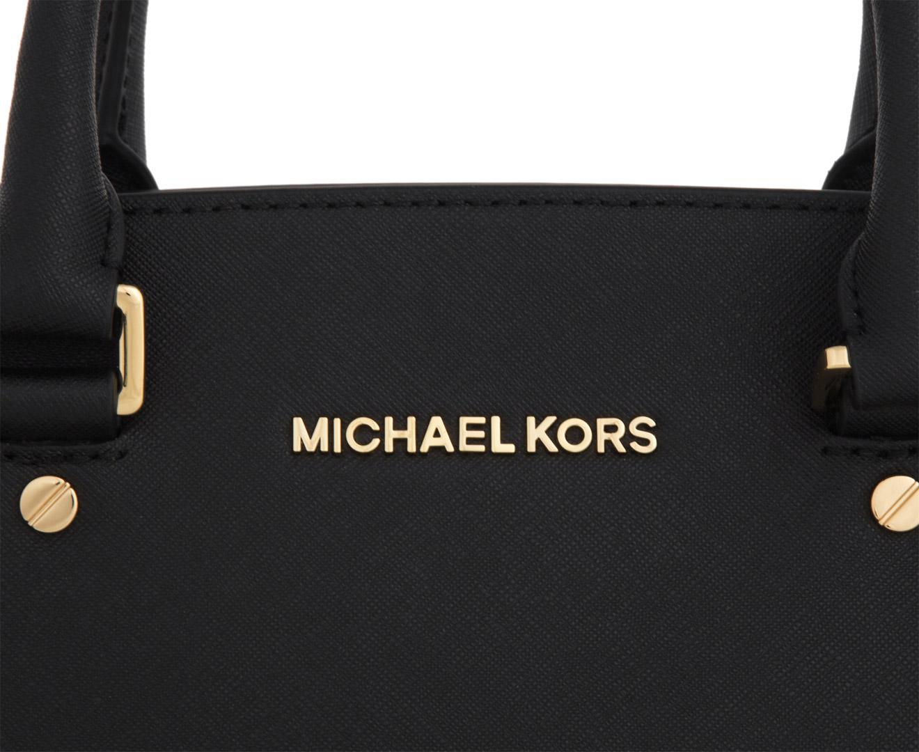 0c9d0e865fd469 Michael Kors Selma Medium Saffiano Leather Satchel - Black | Catch.com.au