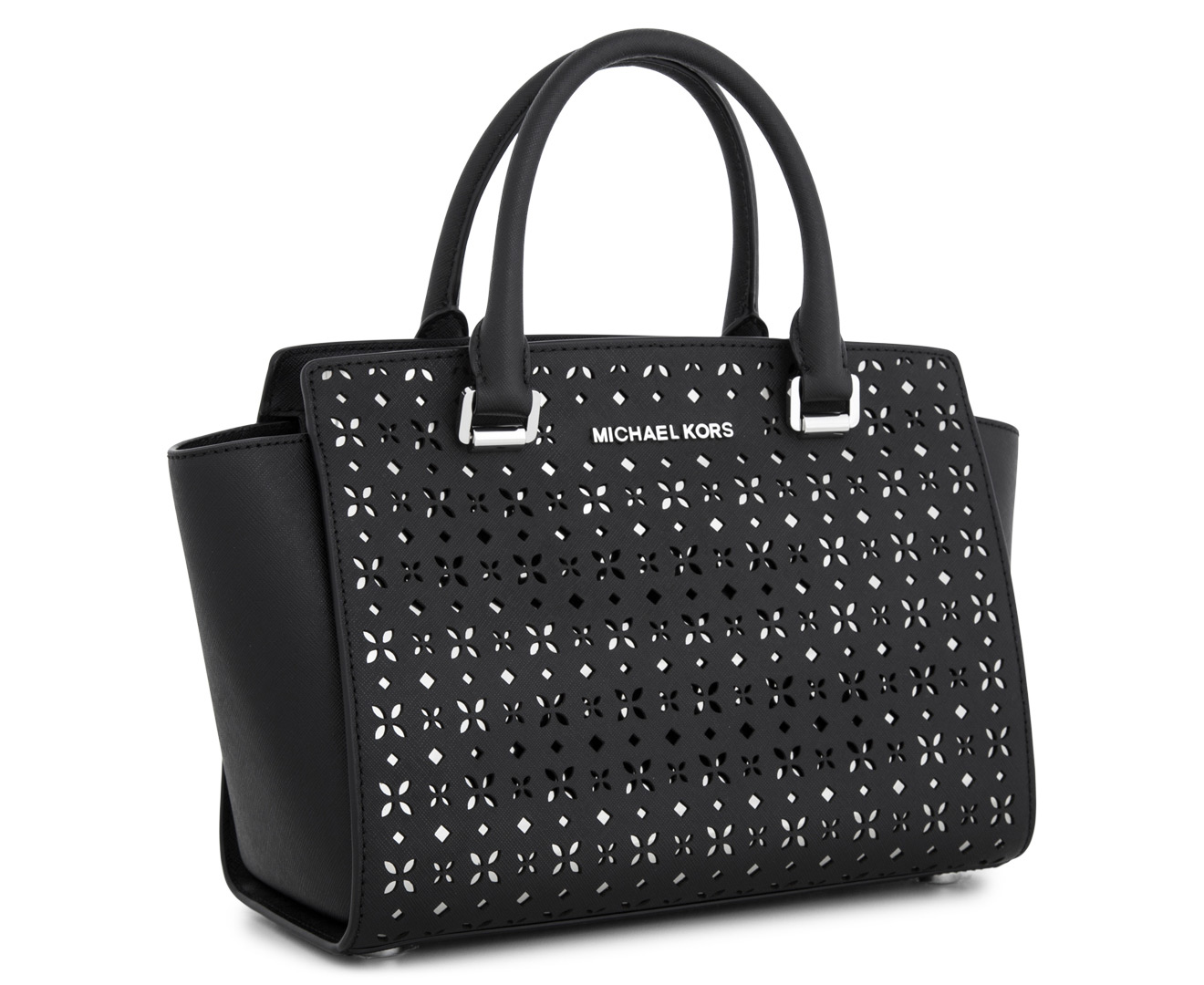 4a2a7dbd7db1 Michael Kors Selma Floral Perforated Medium Leather Satchel - Black Nickel