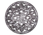 Round Frame 60cm Carved Wood Wall Hanging - Distressed Grey 1