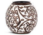 Mango Wood 9cm Carved Flower Design Tealight Holder - White/Brown 1