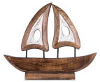 Mango Wood 38x32x7cm Hand Carved Decorative Boat - Brown/White 2