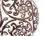 Mango Wood 9cm Carved Flower Design Tealight Holder - White/Brown 6