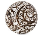 Set of 2 Mango Wood 9cm Decorative Ball - White/Brown 1