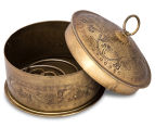 Vintage Look 13cm Round Etched Metal Box - Antique Gold 3