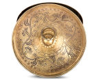 Vintage Look 13cm Round Etched Metal Box - Antique Gold 4
