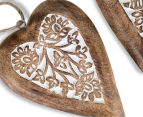 Set of 2 Nested Mango Wood Carved Hanging Hearts - Brown 5