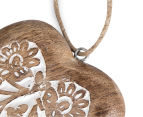 Set of 2 Nested Mango Wood Carved Hanging Hearts - Brown 6