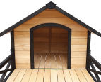 X-Large 83x111x170cm Dog Kennel w/ Patio - Black/Wood 4