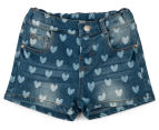 Funky Babe Junior Girls' All Over Hearts Denim Shorts - Blue 1
