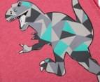 Urban Crusade Junior Kids' Abstract Dinosaur Tee - Red Marle 3