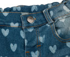Funky Babe Junior Girls' All Over Hearts Denim Shorts - Blue 3