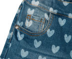 Funky Babe Junior Girls' All Over Hearts Denim Shorts - Blue 4