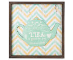 Mint Teapot 40x40cm Square Framed 3D Metal & Wooden Wall Hanging 1
