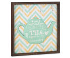 Mint Teapot 40x40cm Square Framed 3D Metal & Wooden Wall Hanging 2