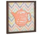 Orange Teapot 40x40cm Square Framed 3D Metal & Wooden Wall Hanging 2