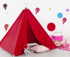 Happy Kids 135x130cm Teepee Tent - Red 2