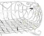 Ornate 36x28cm Basket w/ Handle - Antique White 5