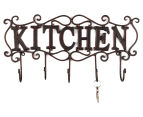 Antique Look 44x22x6cm Kitchen 5-Hook Cast Iron Wall Hanger - Black 2
