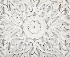 Square 60x60cm Carved Wooden Wall Hanging w/ Bold Corners - Distressed White 3