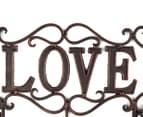 Antique Look 30x22x6cm Love 3-Hook Cast Iron Wall Hanger - Black 4