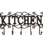 Antique Look 44x22x6cm Kitchen 5-Hook Cast Iron Wall Hanger - Black 4