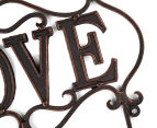 Antique Look 30x22x6cm Love 3-Hook Cast Iron Wall Hanger - Black 6