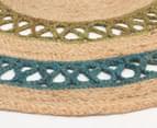 Maple & Elm 200cm Summer Loop Jute Rug - Turquoise/Green 2