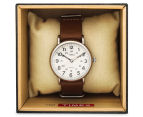 Timex 40mm Weekender Leather Slip Thru Watch - Brown/Cream 5