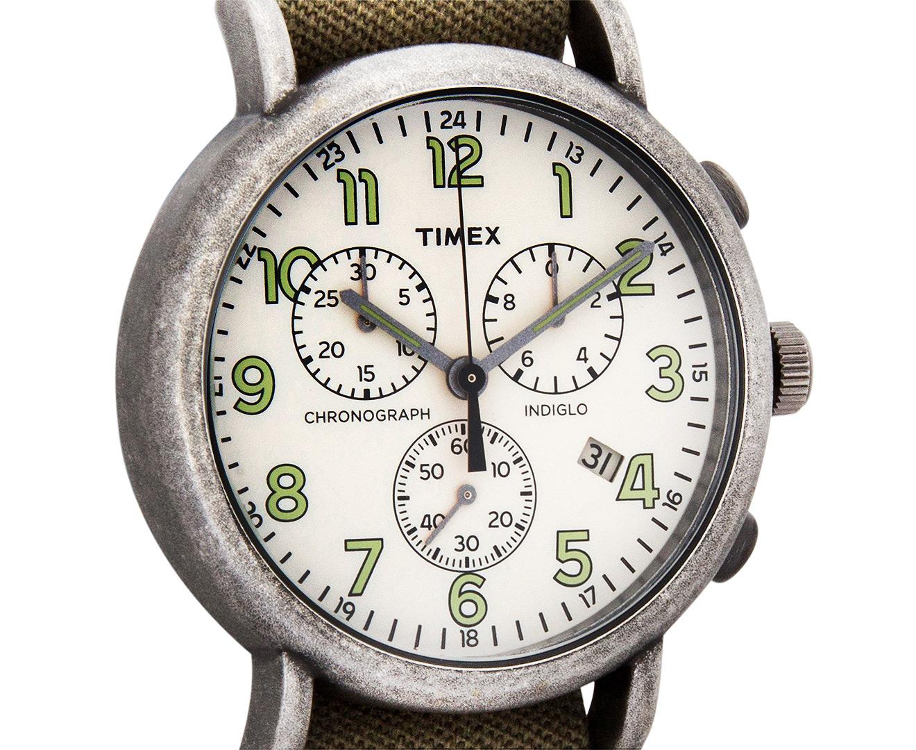 Timex 40mm Weekender Vintage Chronograph Watch Olive