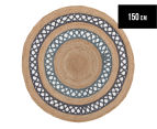 Maple & Elm 150cm Summer Loop Jute Rug - Blue 1