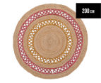 Maple & Elm 200cm Summer Loop Jute Rug - Pink/Yellow 1