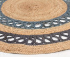 Maple & Elm 150cm Summer Loop Jute Rug - Blue 2
