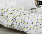 Belmondo Leaves Double Bed Quilt Cover Set - Black/Lime/White 1