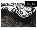 Floral Motif 165x115cm Shag Rug - Black 1