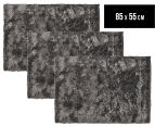 Super Soft Metallic 85x55cm Shag Rug 3-Pack - Charcoal 1