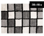 Super Soft 280x190cm Shag Rug - Black/White 1