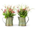 Set of 2 Artificial 22x14cm Flower Mix in Tin Jug - Pink 1