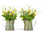 Set of 2 Artificial 22x14cm Flower Mix in Tin Jug - Yellow 1