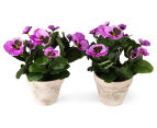 Set of 2 Artificial 28x24cm Potted Pansies - Purple 2