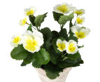 Set of 2 Artificial 28x24cm Potted Pansies - White 3