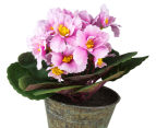 Set of 3 Artificial 21cm African Violets in Tin Pot - Pink 4