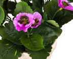 Set of 2 Artificial 28x24cm Potted Pansies - Purple 6