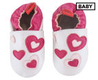 Angel Fit Baby Ana Heart Shoes - Pearl/Pink 1