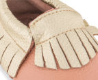 Angel Fit Moccasins With Contrast Fringe - Peach/Gold 6