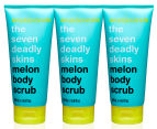 3 x Anatomicals The Seven Deadly Skins Body Scrub Melon 200mL 1