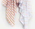 Bubba Blue Jersey Swaddles 2-Pack - Grey/Orange 2