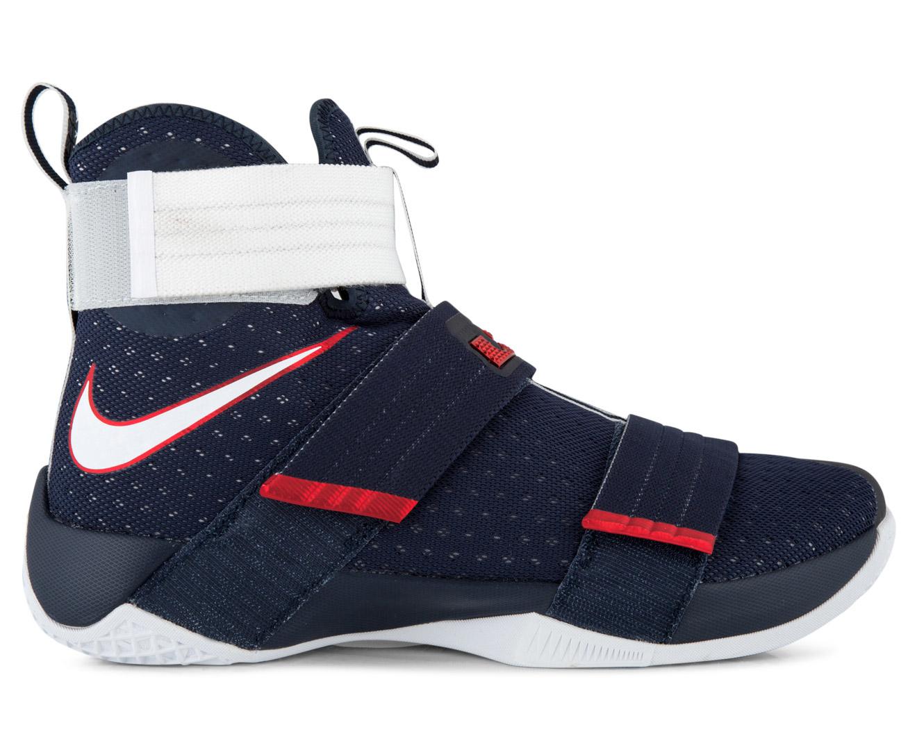 ad0585b661d2 Nike Men s LeBron Soldier 10 SFG Basketball Shoe -  Obsidian White University Red